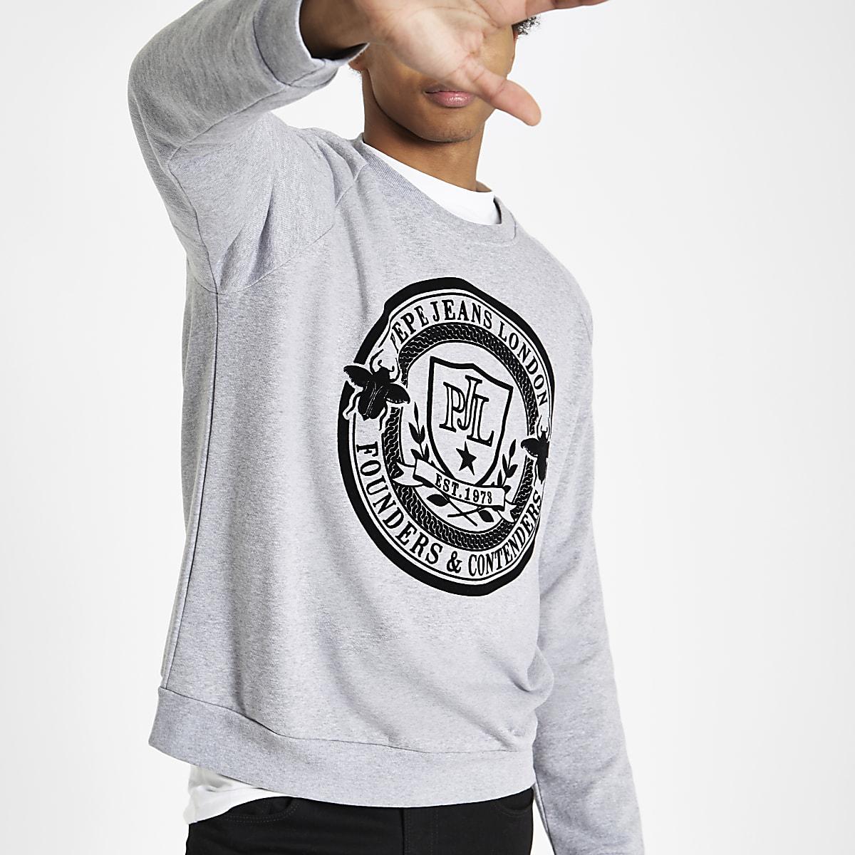 Pepe Jeans grey crest print sweatshirt