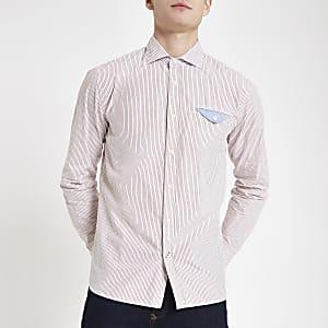 Pepe Jeans pink fine stripe shirt