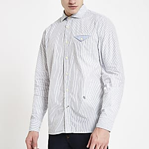 Pepe Jeans blue fine stripe shirt