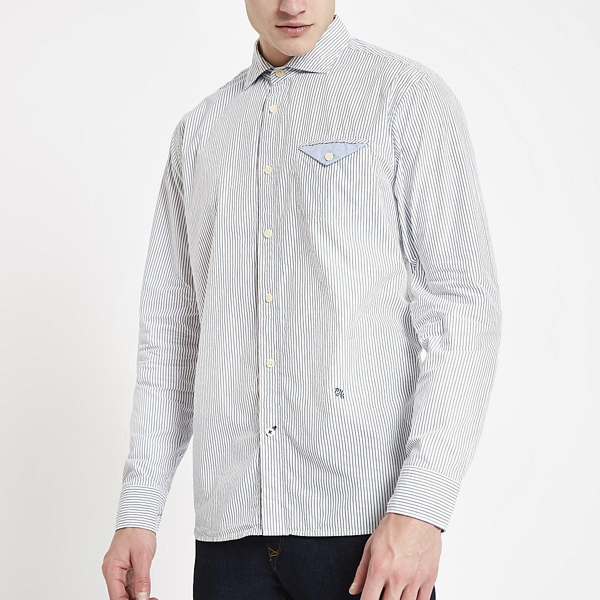 PepeJeans - Chemise classique bleueà rayures