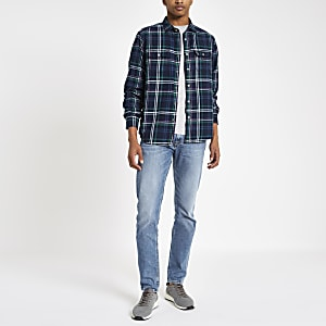Pepe Jeans – Chemise manches longues à carreaux bleu marine