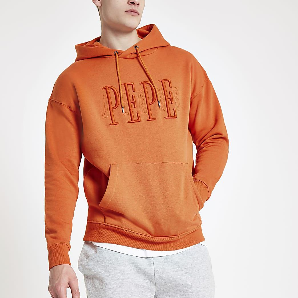 Pepe Jeans orange logo hoodie