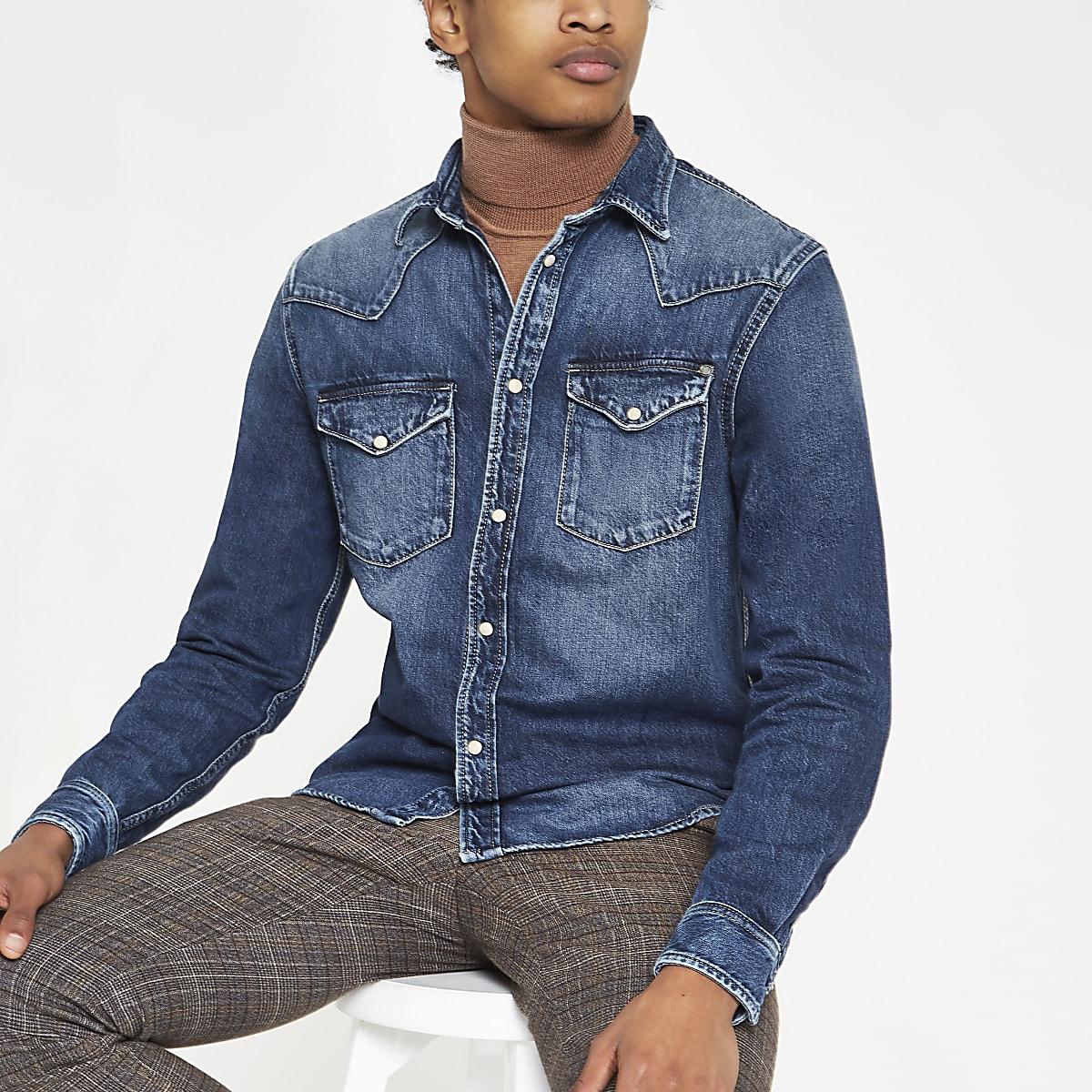 Pepe Jeans – Chemise manches longues en jean bleue