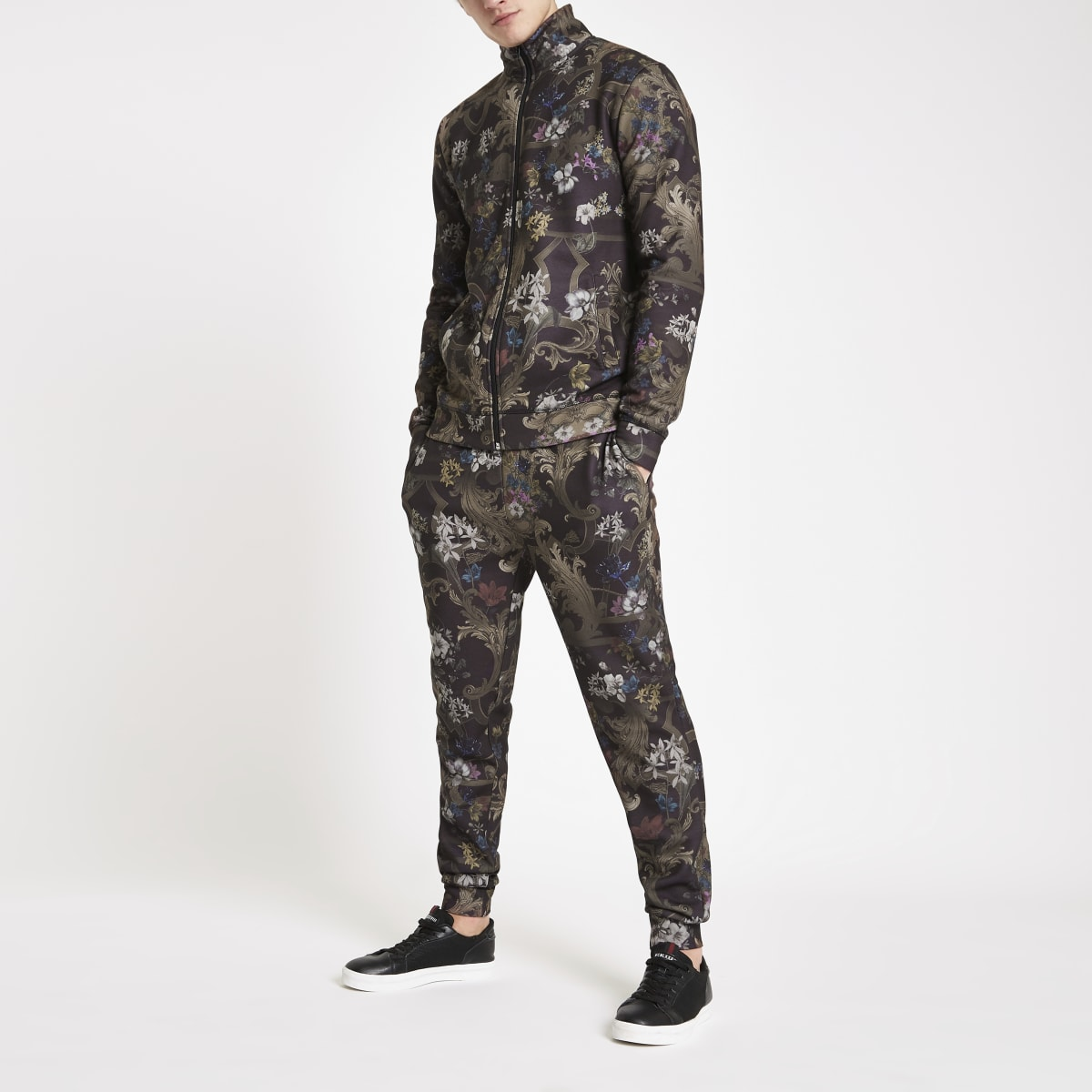 Black baroque print slim fit joggers