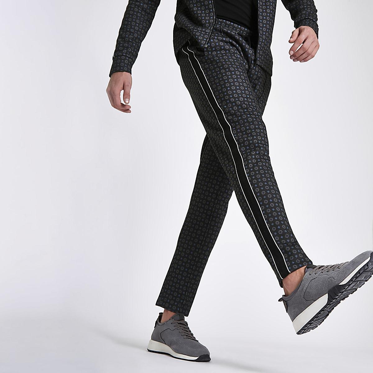 Navy tile print slim fit tape side pants
