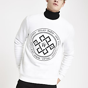 White slim fit print sweatshirt