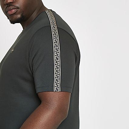 Big and Tall dark green tape T-shirt