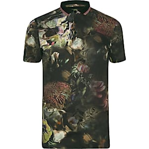 Big and Tall black floral polo shirt