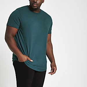 Big and Tall turquoise curved hem T-shirt