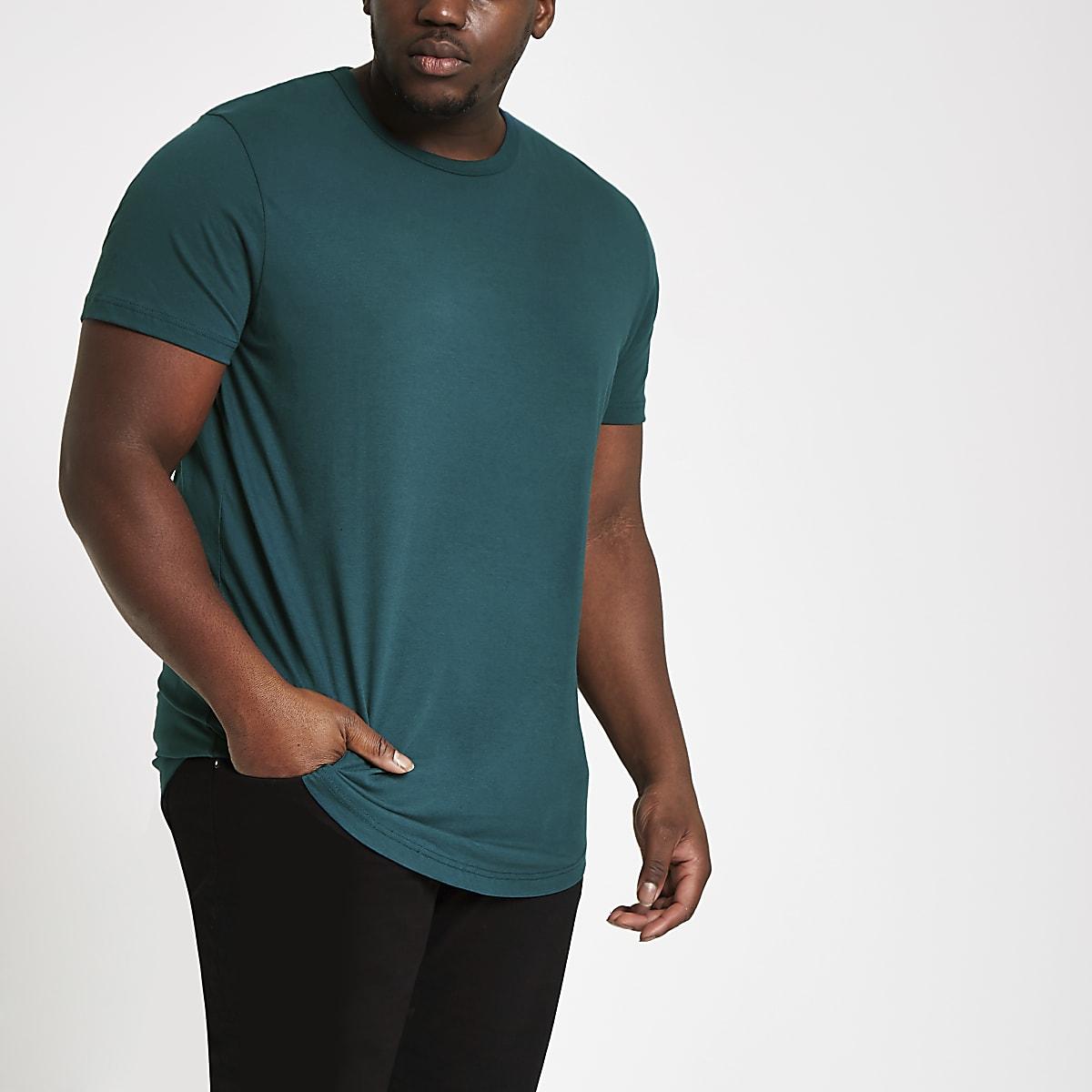 Big & Tall – T-Shirt in Türkis mit abgerundetem Saum