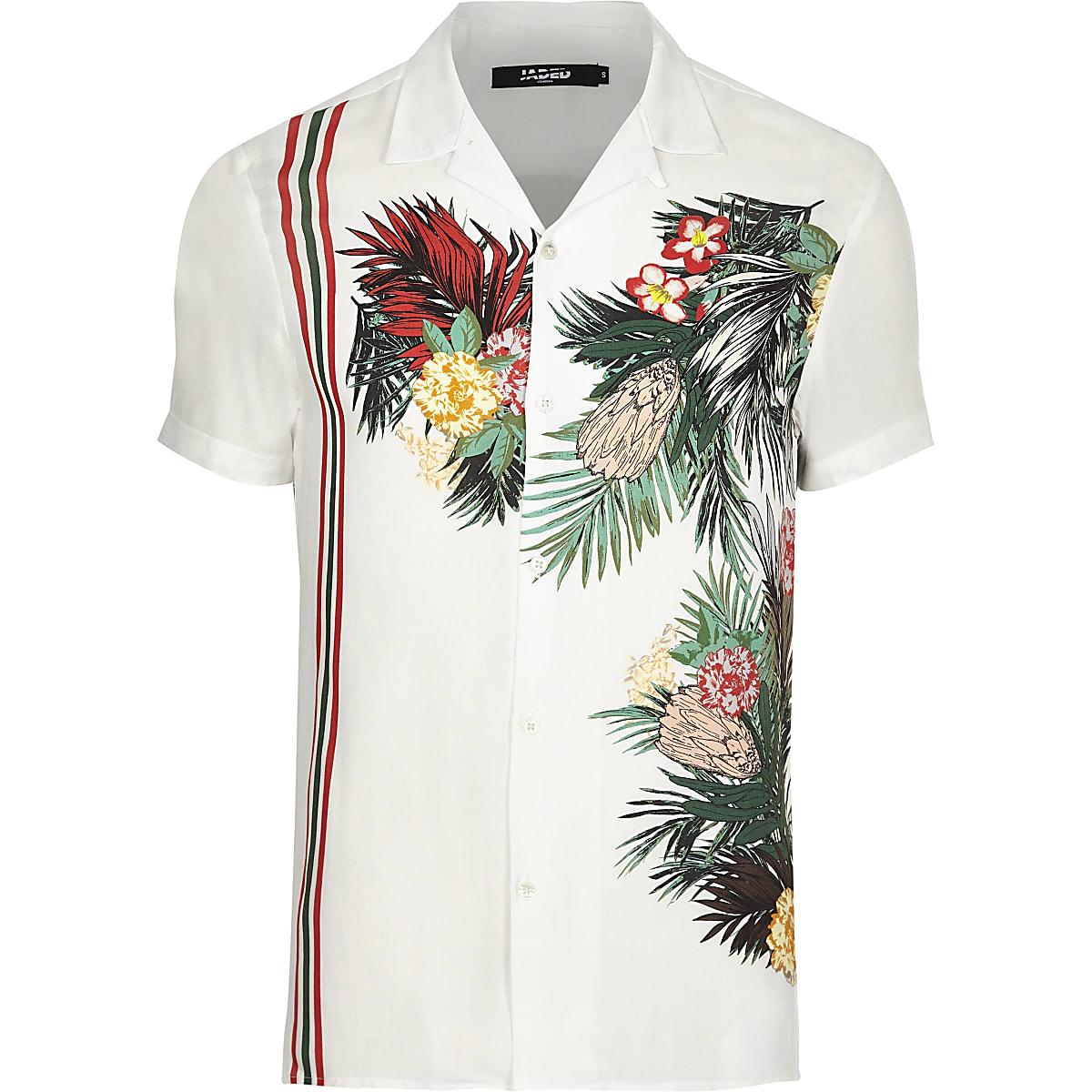 Jaded London white tropical revere shirt