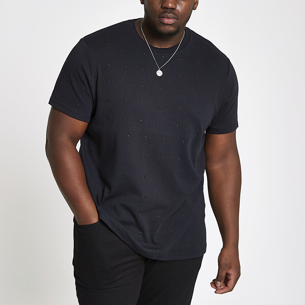 Big and Tall slim fit black studded T-shirt