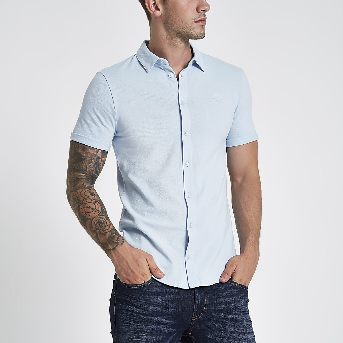 Blue pique short sleeve muscle fit shirt