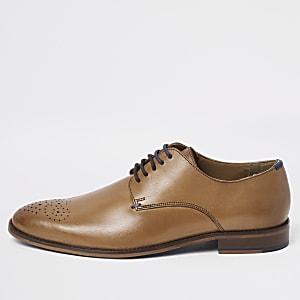 Hellbraune Derby-Schuhe aus Leder