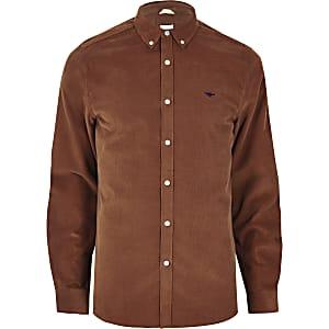 Bruin corduroy overhemd met geborduurde wesp