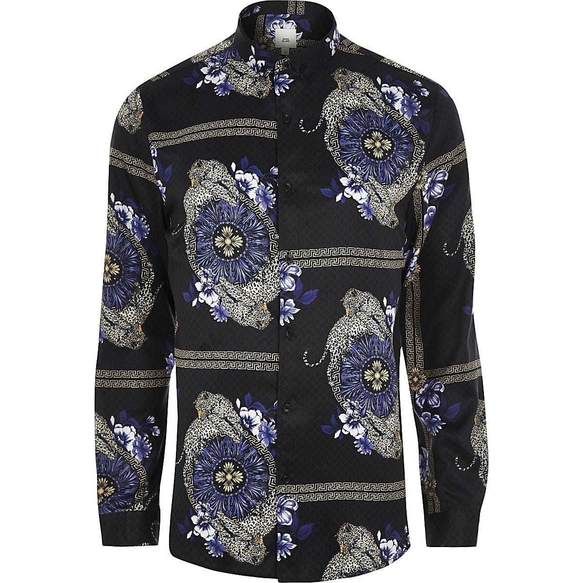 Black baroque leopard print long sleeve shirt