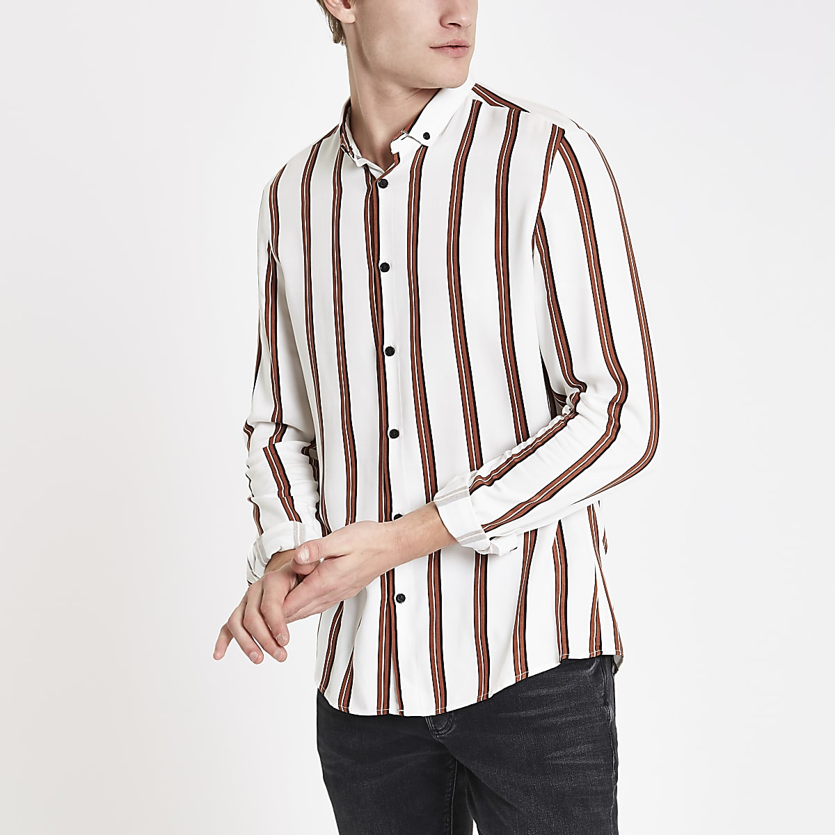 White stripe long sleeve shirt
