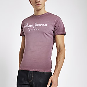 Pepe Jeans – T-Shirt mit Logo in Bordeaux