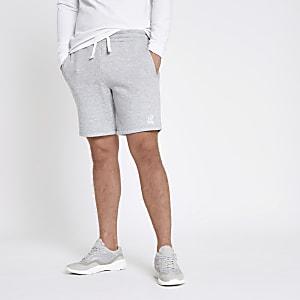 Short slim en jersey gris chiné brodé