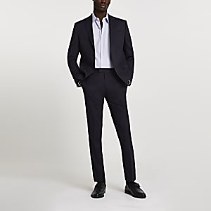 Marineblauwe skinny pantalon met stretch