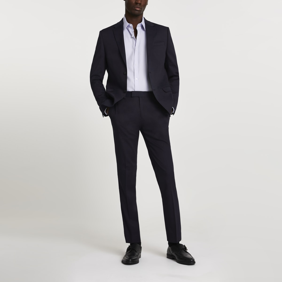 Navy stretch skinny suit pants