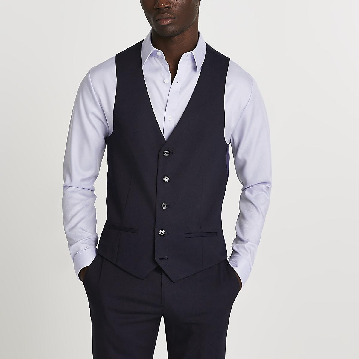 Navy single-breasted waistcoat