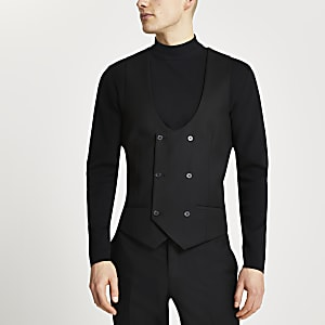 Zwart double-breasted gilet