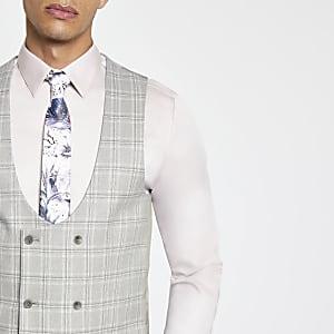 Grey check suit vest
