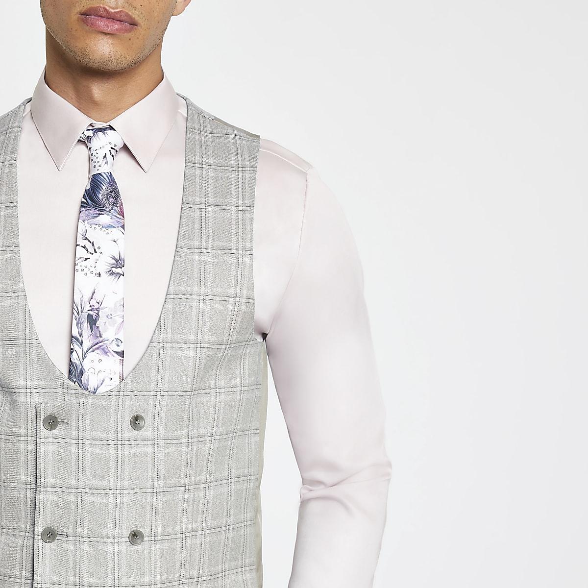 Gilet de costume à carreaux gris