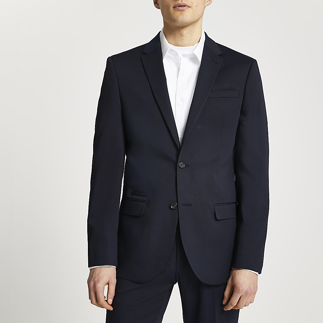 Navy textured slim fit suit jacket