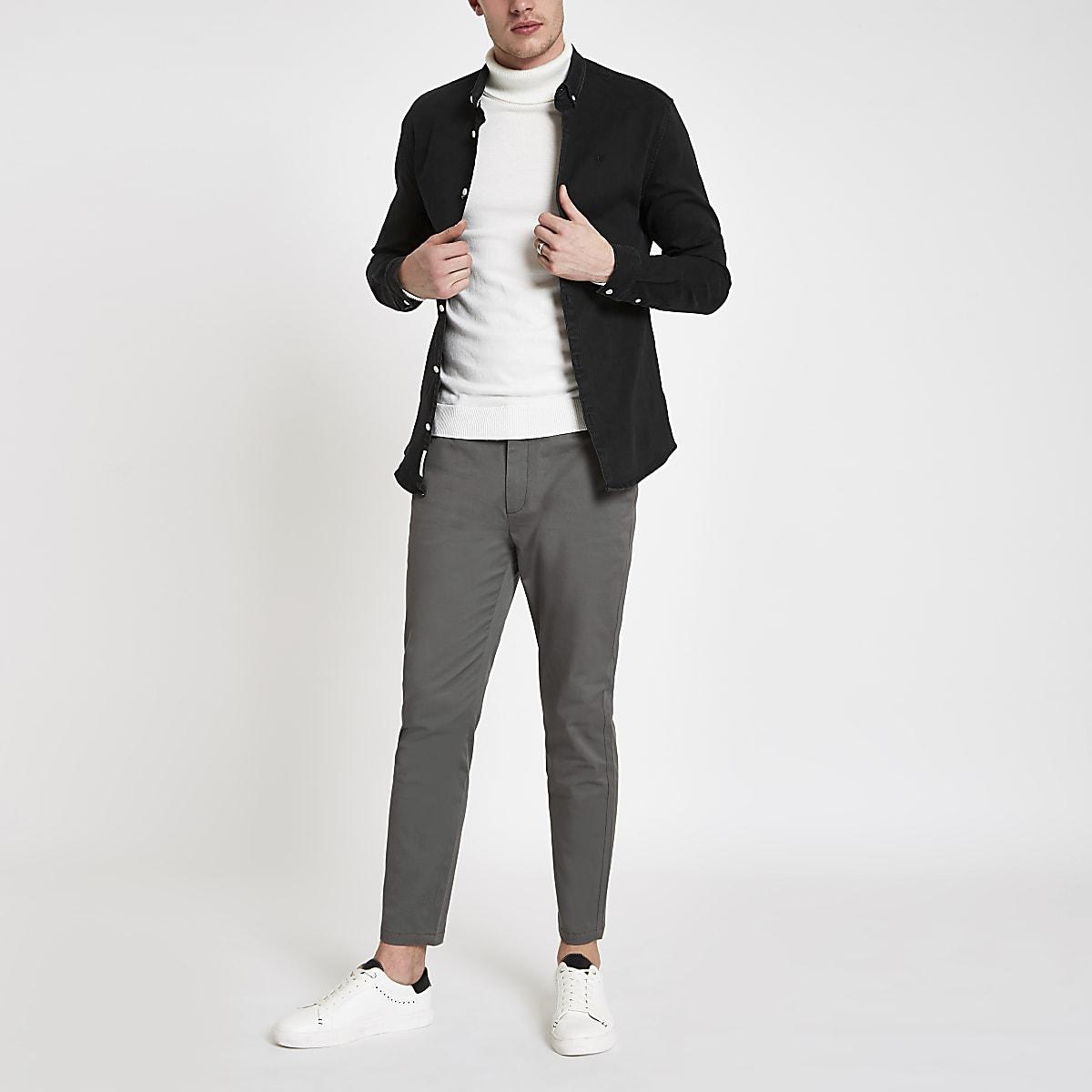 Dark grey skinny chino trousers