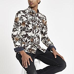 Chemise à fleurs écrue à manches longues