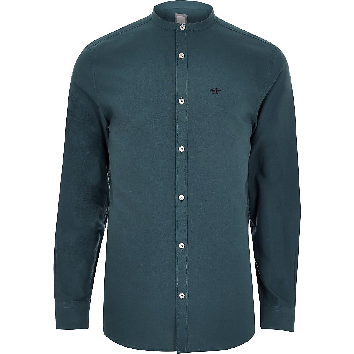 Overhemd Zonder Kraag.Blauwgroen Oxford Overhemd Zonder Kraag Met Geborduurde Wesp