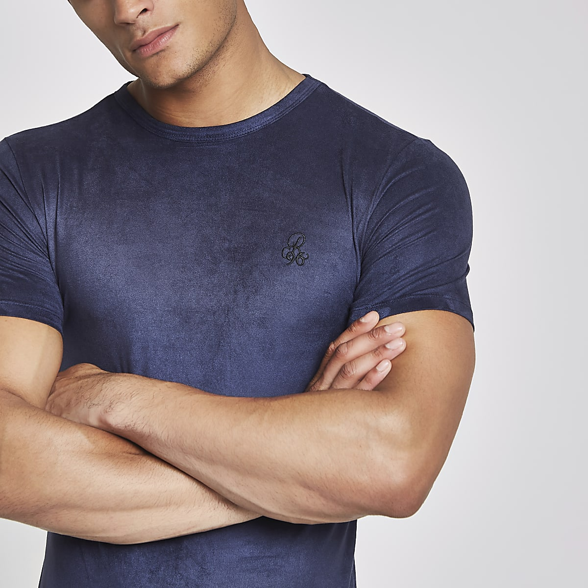 R96 navy suede muscle fit T-shirt
