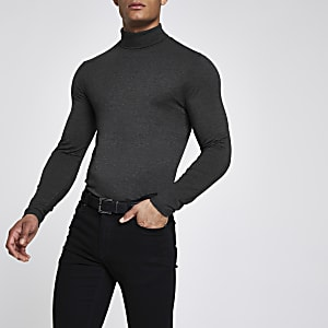 Grey muscle fit roll neck T-shirt