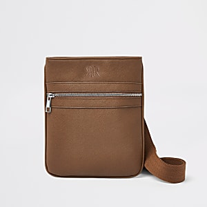 Brown flight cross body pouch