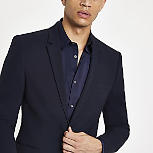 Navy super skinny suit jacket