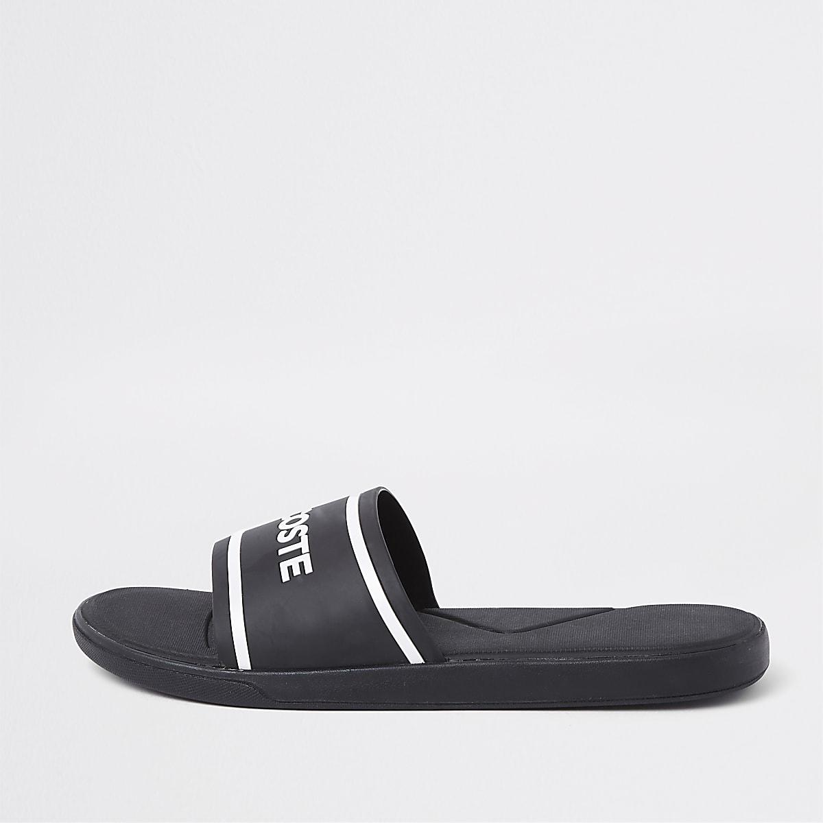 Lacoste - Zwarte doorstikte slippers