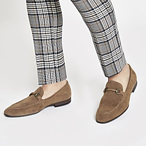 Tan faux suede snaffle loafers