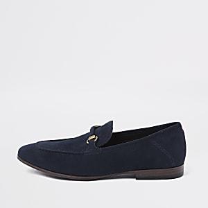 Marineblauwe loafers van imitatiesuède