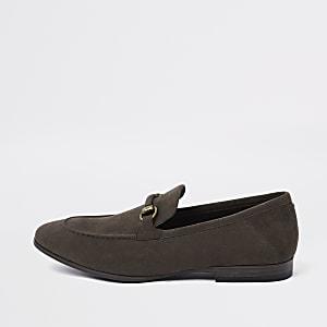 Donkerbruine loafers van imitatiesuède