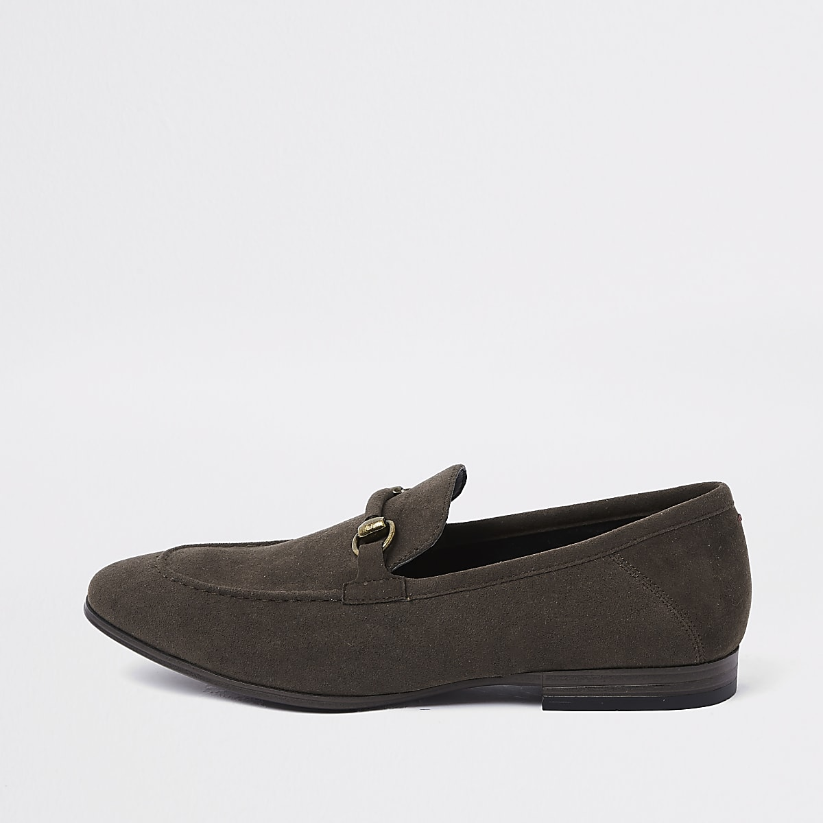 Dark brown faux suede snaffle loafer