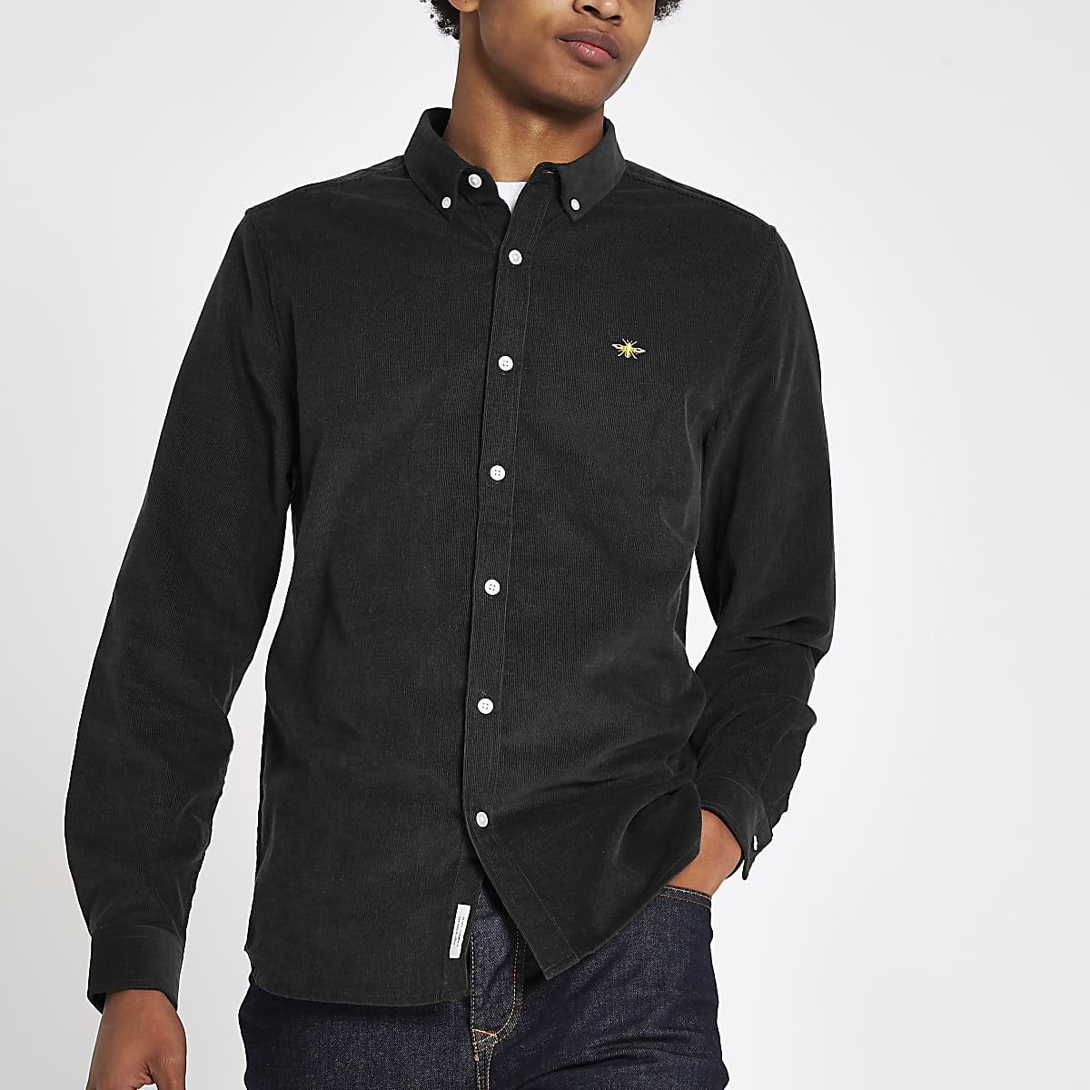 Dark green cord long sleeve button-down shirt