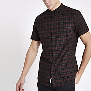 Dark red check grandad collar shirt