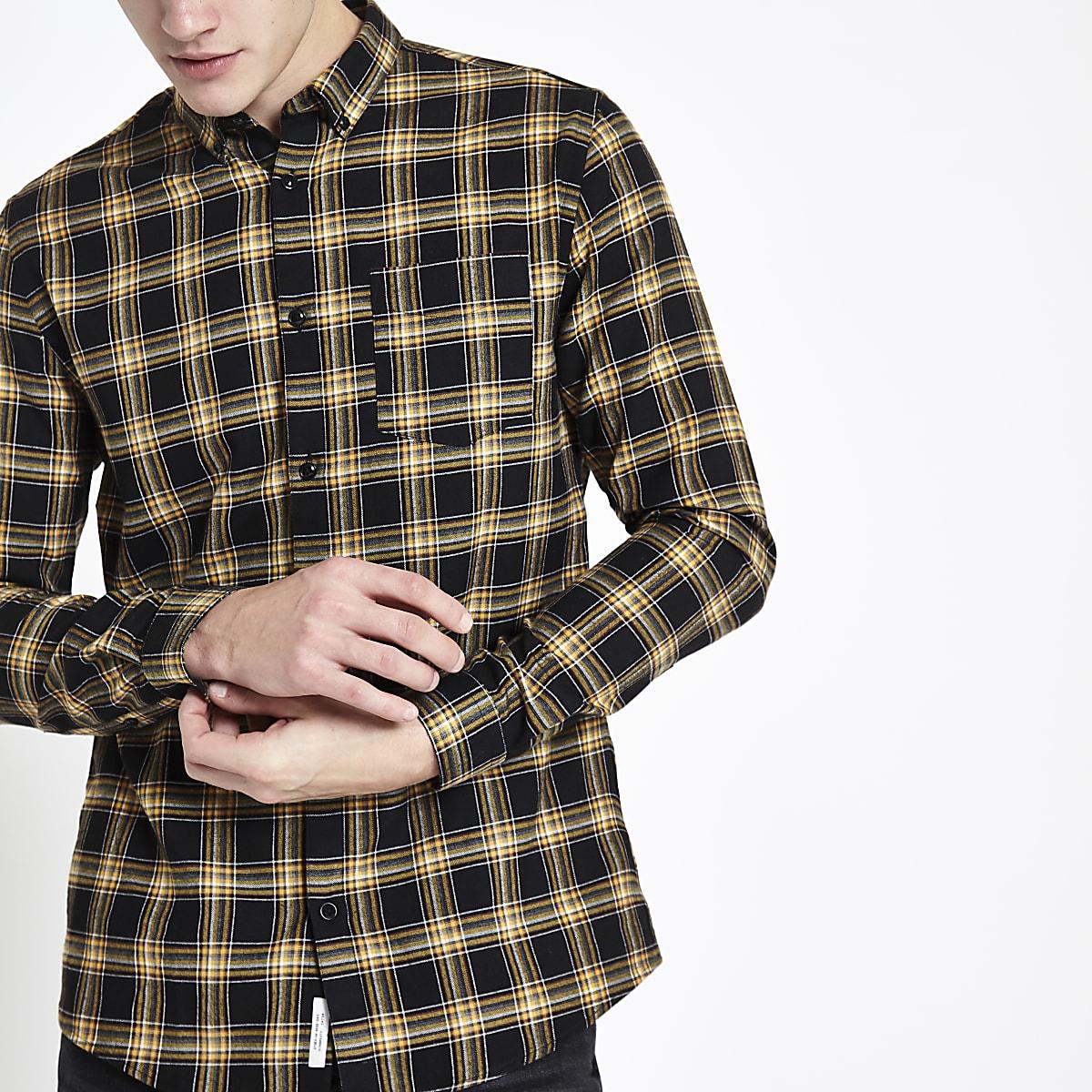 Kariertes Button-Down-Hemd in Schwarz und Gelb