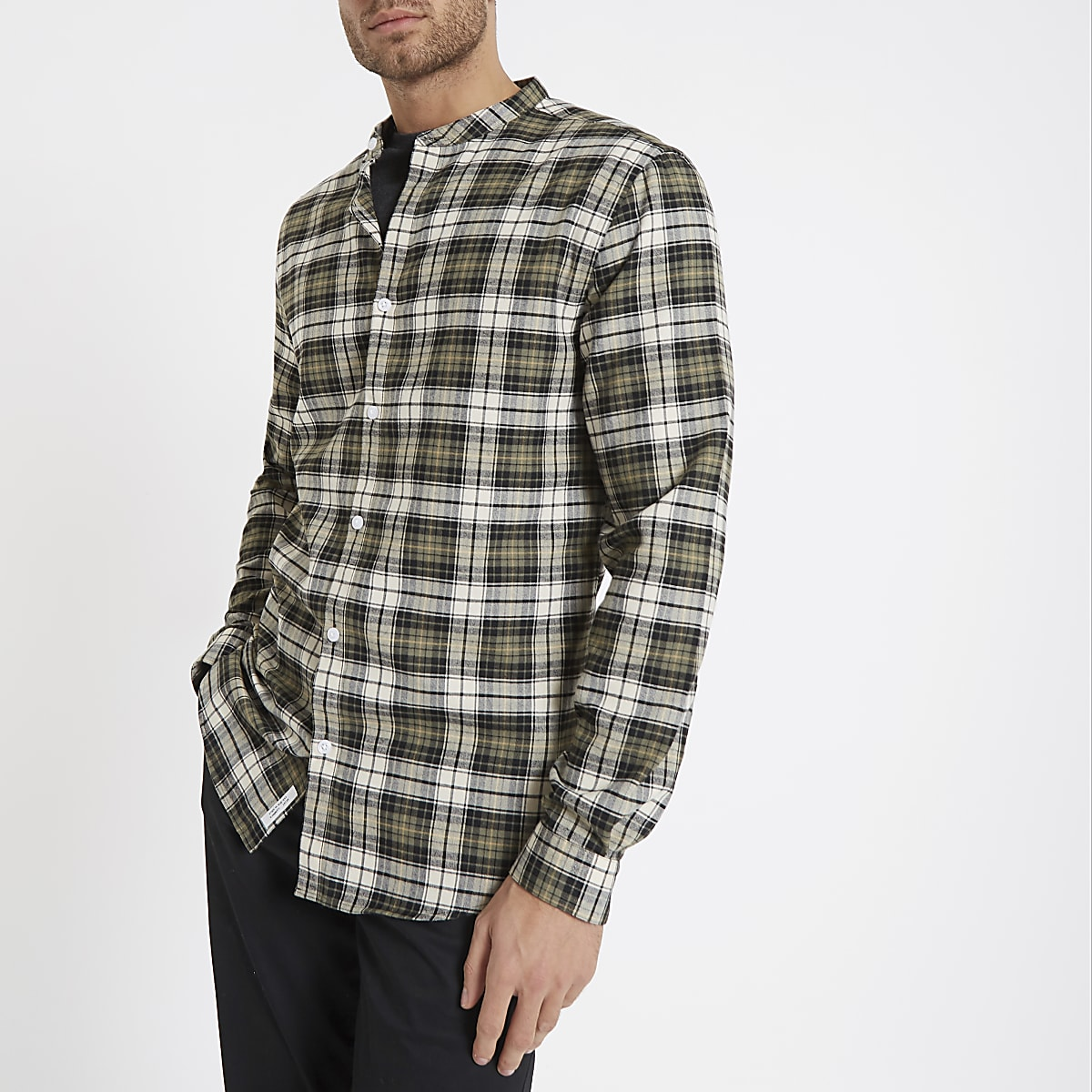 Khaki check grandad collar shirt