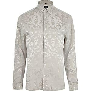 Ecru jacquard long sleeve shirt