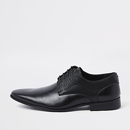Black line embossed lace-up derby shoes