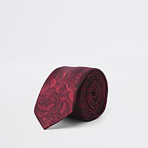 Rote Krawatte mit Blumenprint