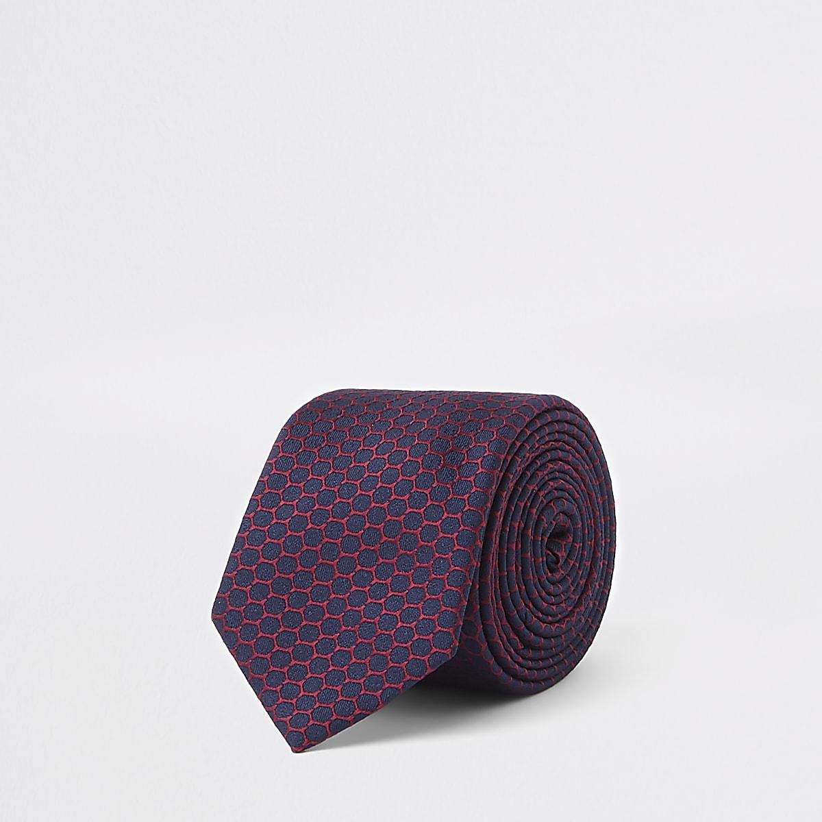 Cravate imprimé géométrique bleu marine
